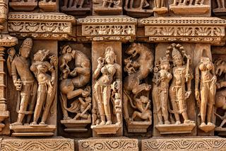 Sculptures on Adinath Jain Temple, Khajuraho