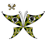 Colorful butterfly with eyes for your design