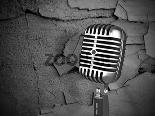 vintage microphone on dirty background