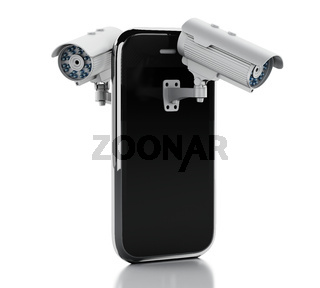 3d Smartphone with CCTV camera. Mobile security concept.