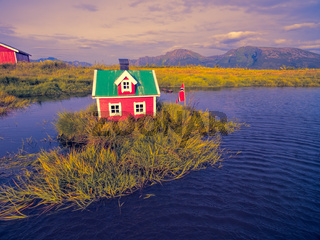 Scandinavian house on island