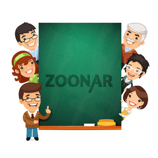 Teachers Presenting Empty Chalkboard