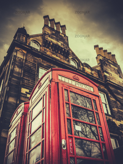 Classic Red Phonebox In Edinburgh