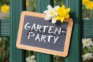 Gartenparty Gartenfest Garten Party Fest mit Blumen Blume Tafel Schild