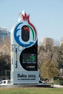 Baku - DECEMBER 28, 2014: 2015 European Games countdown clock on
