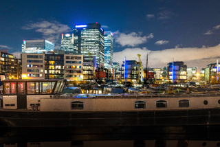 Canary Wharf at night from Blackwall Basin, London, United Kingdom