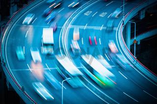 vehicles motion blur on curve bridge approach