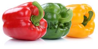 Sammlung Paprika Paprikas Gemüse in einer Reihe bio Freisteller freigestellt isoliert