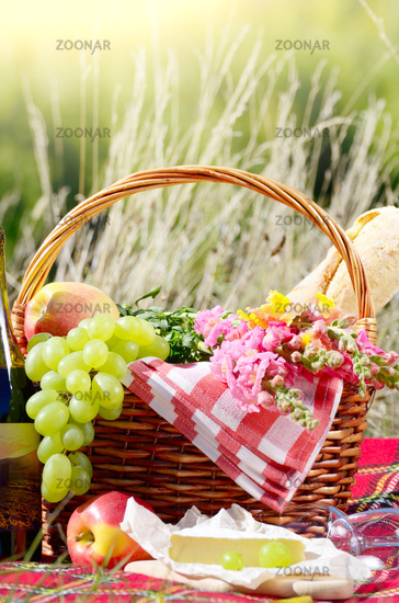 Wine cheese bread and fruits