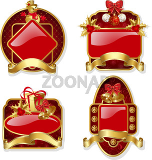 Set from red christmas labels