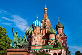 St. Basil#39;s Cathedral, Minin and Pozharksy monument in Moscow