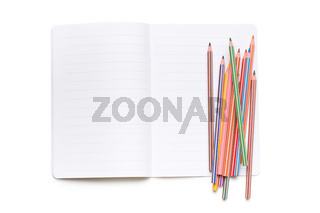 colored pencils and open workbook