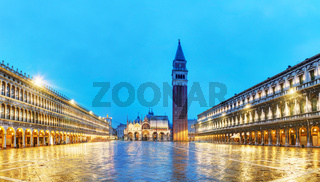 Panoramic overview of San Marco square in Venice, Italy