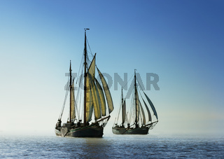 Two traditional sailing boats