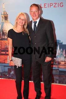 Ex-Fußballprofi Christian Ziege mit Ehefrau Pia bei 8.GRK Golf Charity Masters 2015 in Leipzig