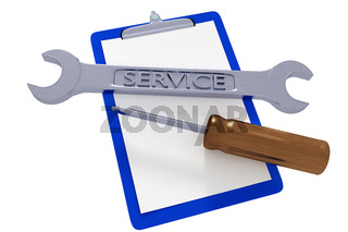 Wrench and screwdriver and clipboard
