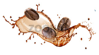 Coffee beans with splash isolated on white