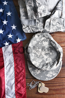 Military Fatigues Flag Dog Tags