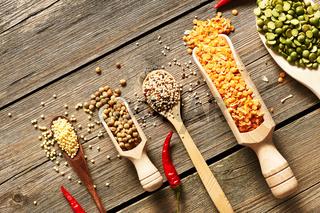 Spoons of various legumes