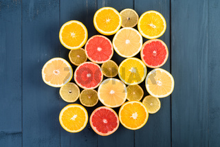 Orange, Grapefruit And Lemon Citrus Fruit Slices