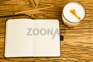 Concept empty notebook with pencil