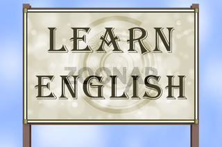 Advertising sign with inscription 'LEARN ENGLISH'