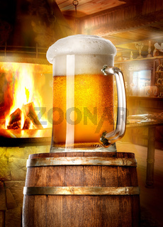 Beer and fireplace