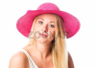 blondes frauengesicht mit strohhut