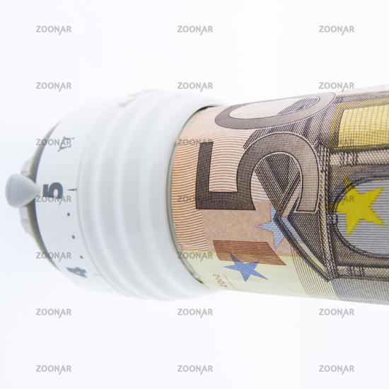 Heizungsthermostat mit Geldschein