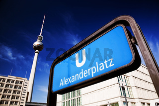 U-bahn Alexanderplatz sign and Television tower