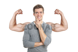 man with superimposed muscular arms