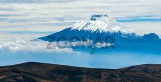 Cotopaxi volcano over the plateau, Andean Highlands of Ecuador, South America