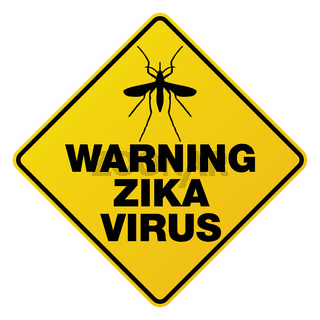 Yellow Zika Virus Warning Sign Illustration