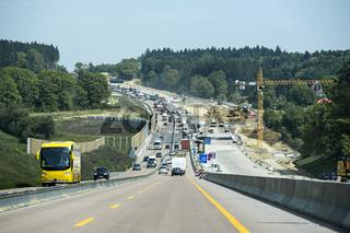 Autobahnbaustelle auf der A8