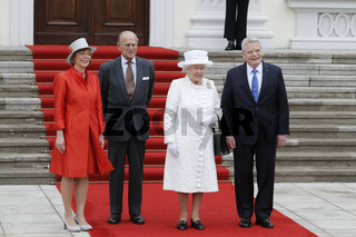 Queen Elisabeth II is welcomed by German President Gauck at Bellevue