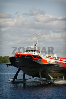 Hydrofoil boat on water