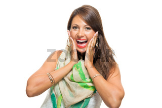 Happy Woman in Trendy Outfit Touching her Face