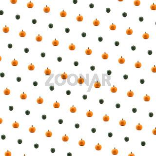 Green and Orange Pumpkin against white background
