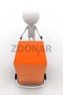 3d man carrying orange box with the help of trolly