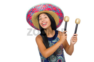 The young attractive woman wearing sombrero on white