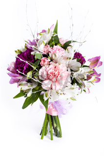 Pastel bouquet from pink and purple gillyflowers on white