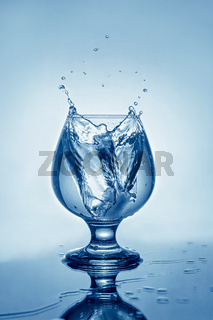 Mineral water with ice and splashes