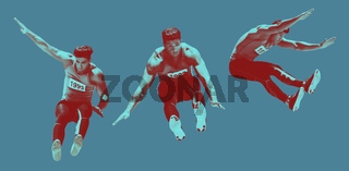 Digitally generated image of athlete jumping