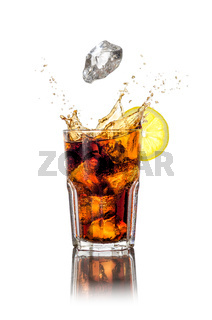A longdrink with ice cubes and splash