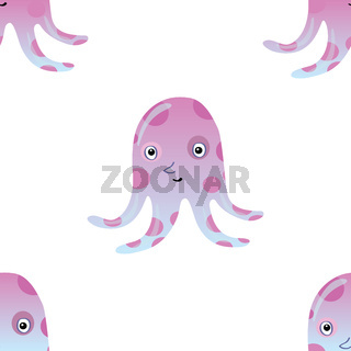 Jellyfish or octopus marine seamless pattern background