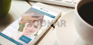 Composite image of dating website