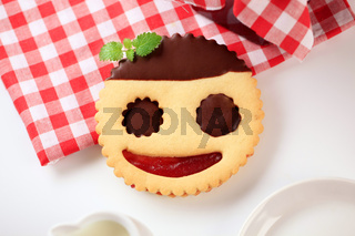 Chocolate dipped jam biscuit