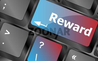 Rewards keyboard keys showing payoff or roi . keyboard keys. vector illustration