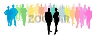 Business Gruppe hinter Geschäftsmann und Geschäftsfrau