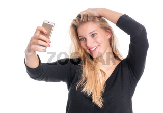 hübsche blondine macht ein selfie